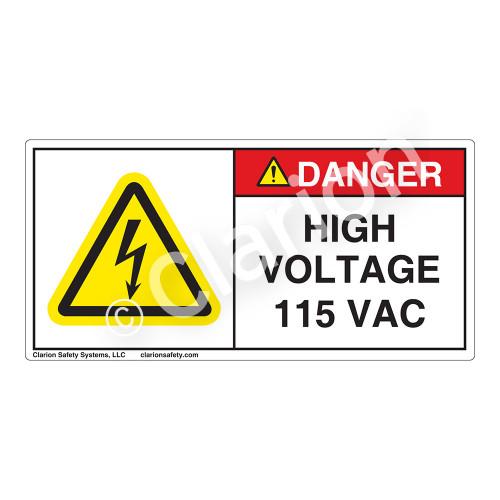 Danger/High Voltage 115 Vac Label (H6010-C79DH)