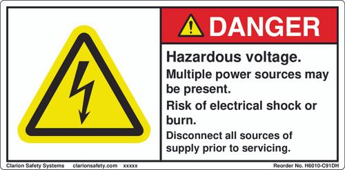 Danger/Hazardous Voltage Label (H6010-C91DH)