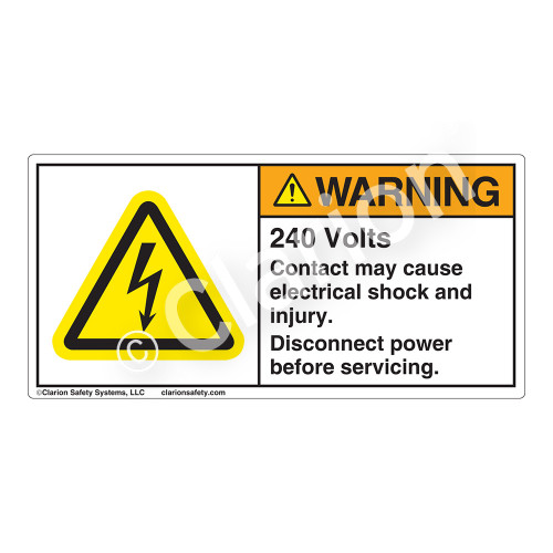 Warning/240 Volts Label (H6010-DY6WH)
