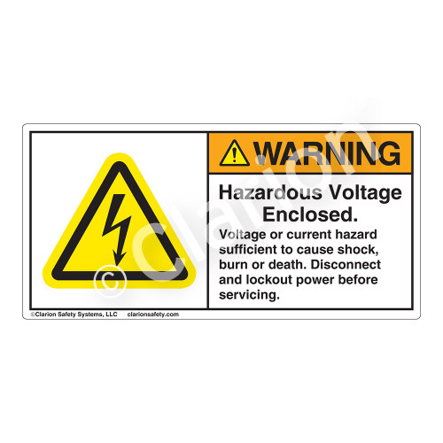 Warning/Hazardous Voltage Label (H6010-EBWH)