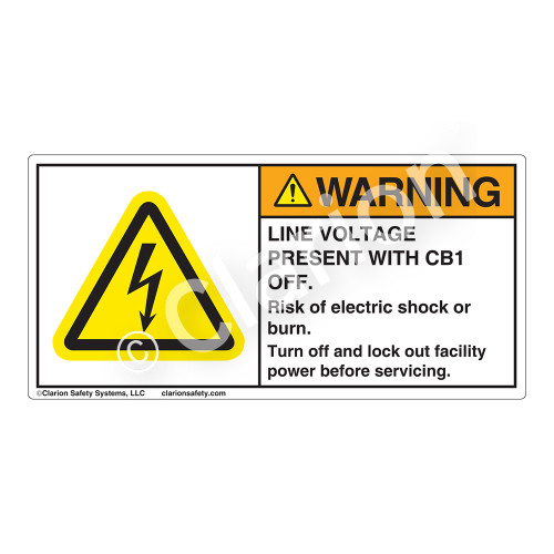 Warning/Line Voltage Present Label (H6010-G78WHP-)