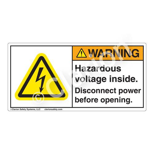 Warning/Hazardous Voltage Label (H6010-H3WHP)