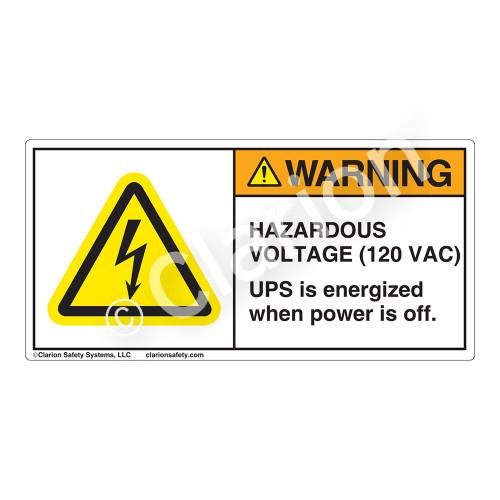Warning/Hazardous Voltage Label (H6010-H47WH)