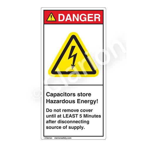 Danger/Capacitors Store Label (H6010-H50DV)