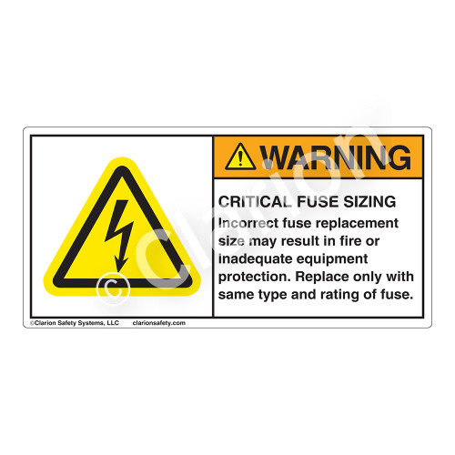 Warning/Critical Fuse Sizing Label (H6010-H65WH)