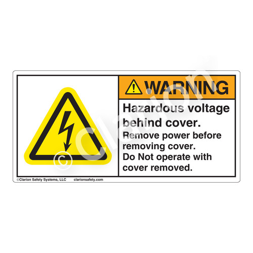 Warning/Hazardous Voltage Label (H6010-J39WH)