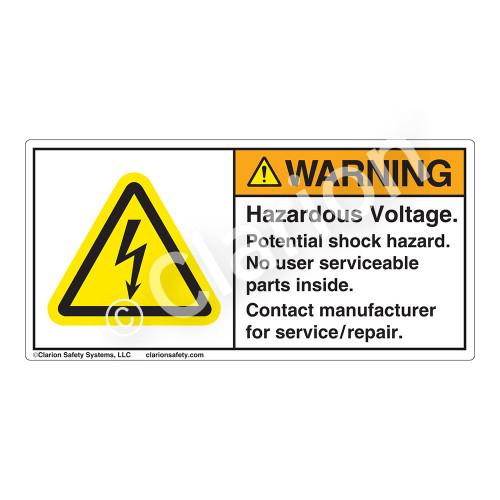 Warning/Hazardous Voltage Label (H6010-K80WH)