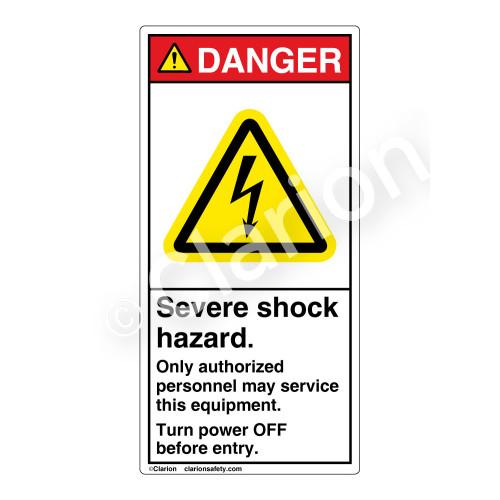 Danger/Severe Shock Hazard Label (H6010-KEDV)