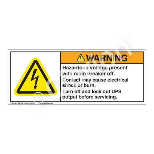 Warning/Hazardous Voltage Present Label (H6010-MVWH)