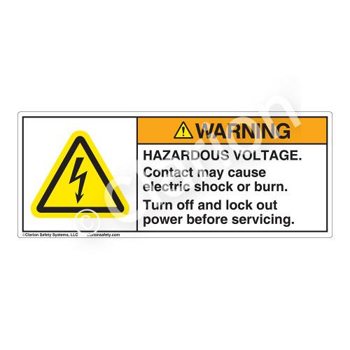 Warning/Hazardous Voltage Label (H6010-PHWH)