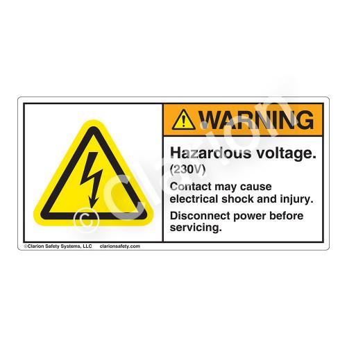 Warning/Hazardous Voltage Label (H6010-SSWH)