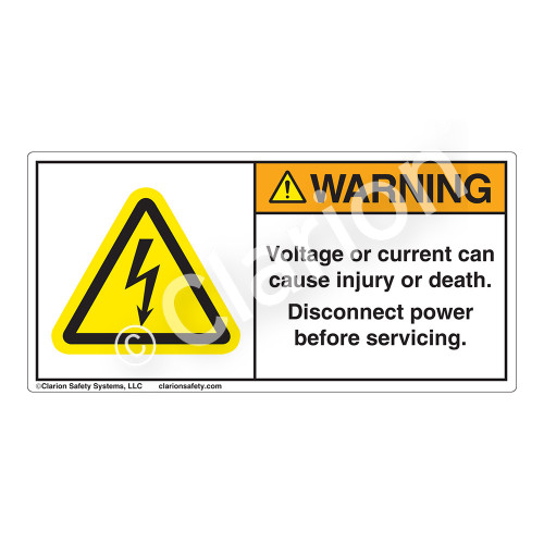 Warning/Voltage or Current Can Label (H6010-T31WH)