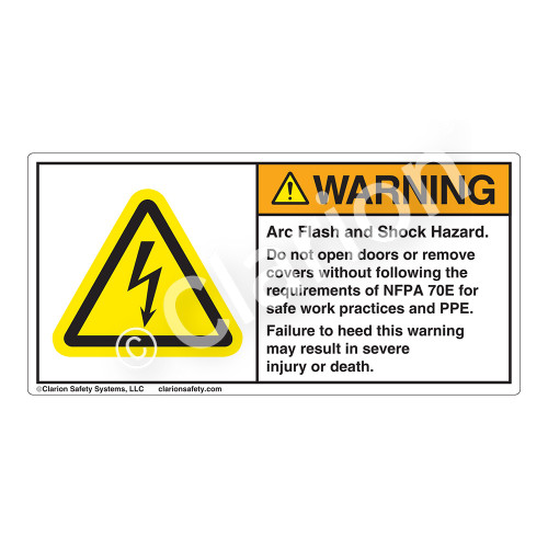Warning/Arc Flash and Shock Label (H6010-T73WH)