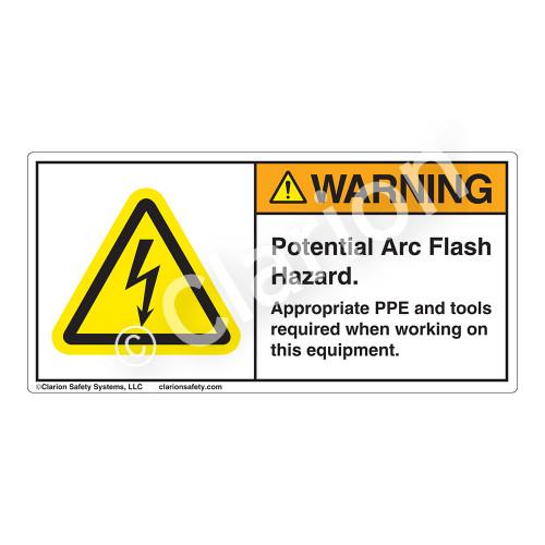Warning/Potential Arc Flash Hazard Label (H6010-U82WH)