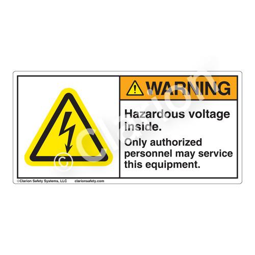 Warning/Hazardous Voltage Inside Label (H6010-X7WH)