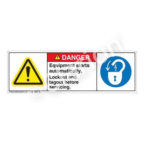 Danger/Equipment Starts Automatically Label (H6014/6011-PNDH)