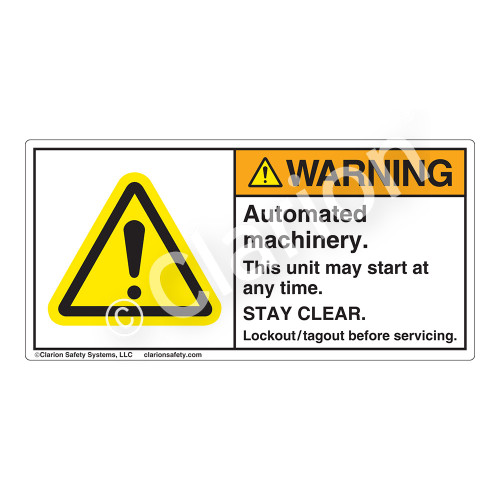 Warning/Automated Machinery Label (H6014-GCWH)