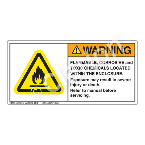 Warning/Flammable Corrosive Label (H6020-NRWH)