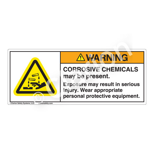 Warning/Corrosive Chemicals Label (H6023-NKWH)