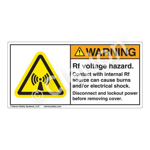 Warning/Rf Voltage Hazard Label (H6027-D53WH)