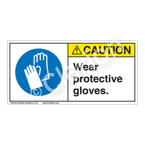 Caution/Wear Protective Gloves Label (H6033-HGCH)