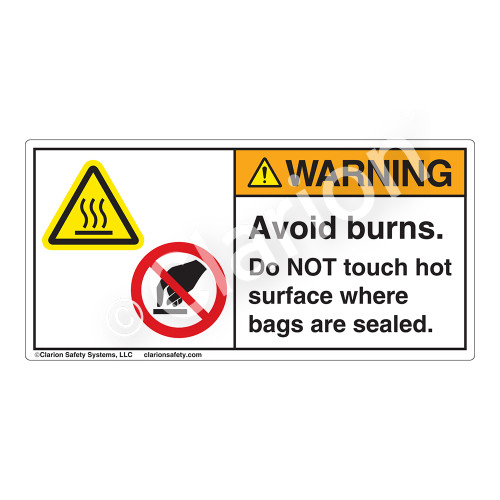 Warning/Avoid Burns Label (H6043/6053-H4WH)
