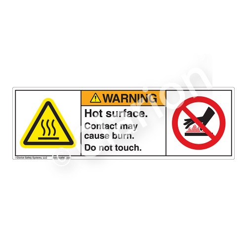 Warning/Hot Surface Label (H6043/6165-M)