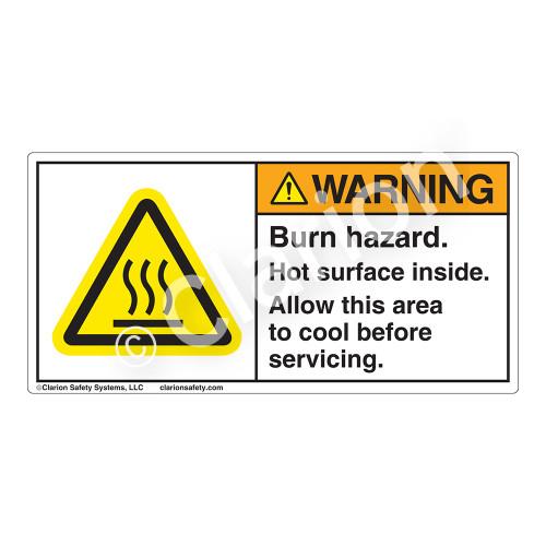 Warning/Burn Hazard Label (H6043-6BWH)