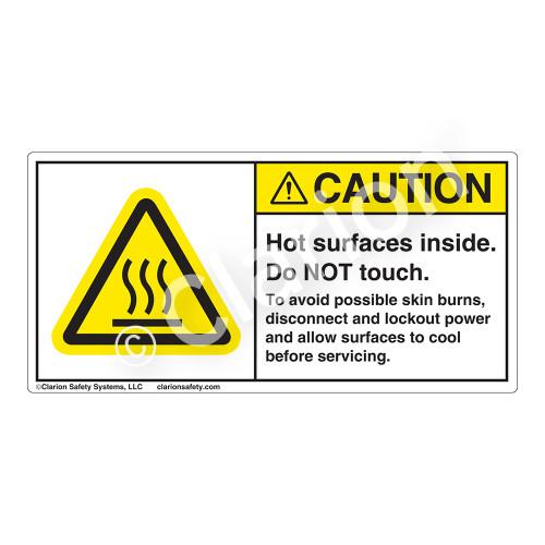 Caution/Hot Surfaces Inside Label (H6043-TGCH)