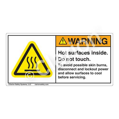 Warning/Hot Surface Inside Label (H6043-TGWH)