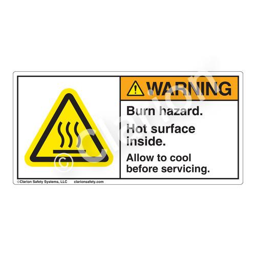 Warning/Burn Hazard Label (H6043-TMWH)