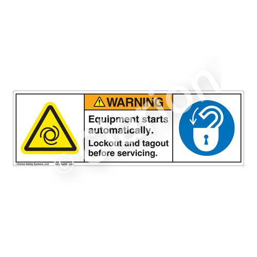 Warning/Equipment Starts Label (H6045/6013-PNWH)