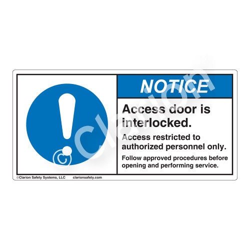 Notice/Access Door Is Interlocked Label (H6055-H17NH)