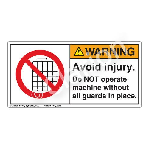 Warning/Avoid Injury Label (H6060-CUWH)