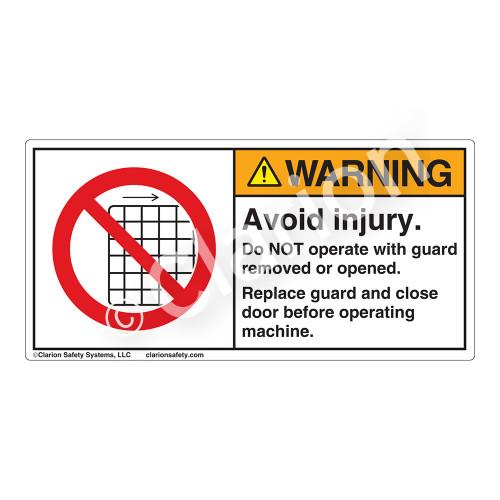 Warning/Avoid Injury Label (H6060-G45WH)
