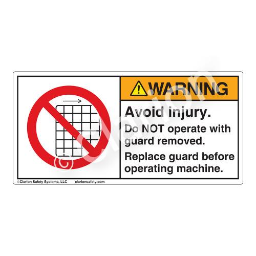 Warning/Avoid Injury Label (H6060-H5WH)