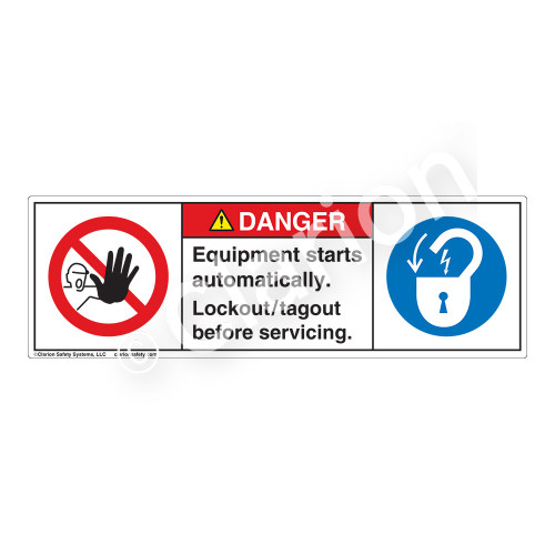 Danger/Equipment Starts Automatically Label (H6062/6011-MWDH)