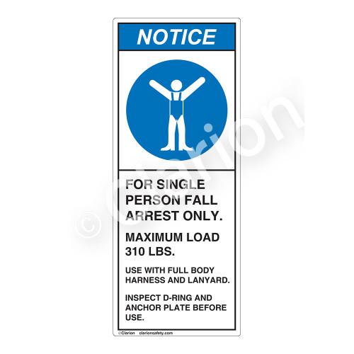 Notice/For Single Person Fall Label (H6112-G64NV)