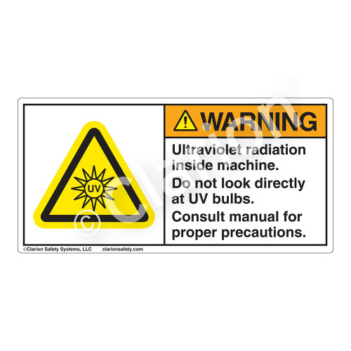 Warning/UV Radiation Label (H6123-243WH)