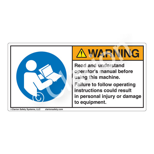 Warning/Read And Understand Label (H6126-202WH)