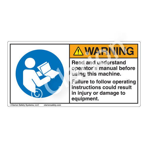 Warning/Read And Understand Label (H6126-TUWH)