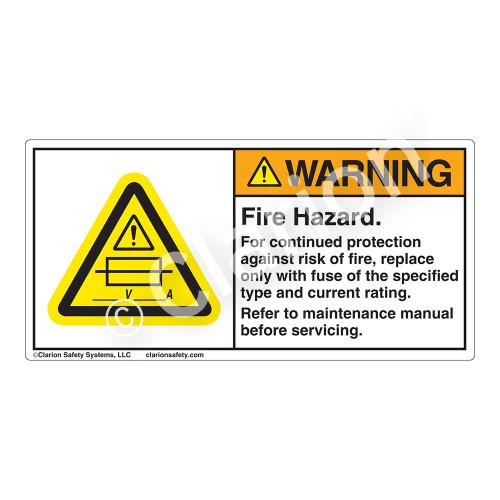 Warning/Fire Hazard Label (H6130-433WH)