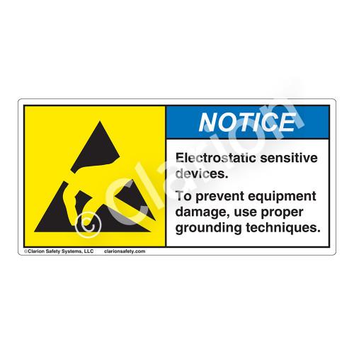 Notice/Electrostatic Sensitive Devices Label (H6131-53NH)