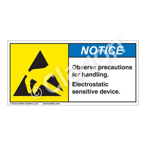 Notice/ Observe Precautions Label (H6131-K92NH)