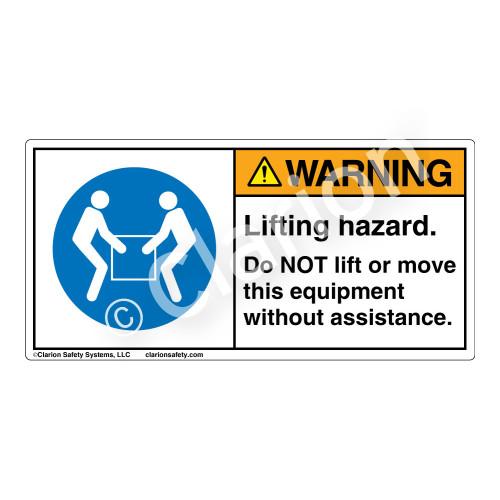 Warning/Lifting Hazard Label (H6147-VWWH)