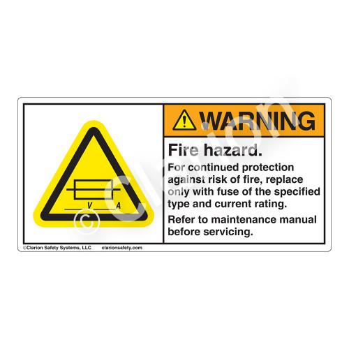 Warning/Fire Hazard Label (H6184-433WH)