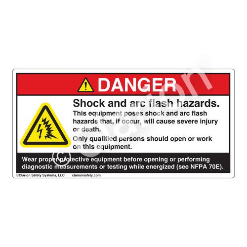 Danger/Shock & Arc Flash Label (H6643-1PDH)