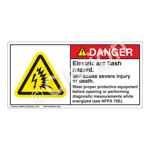 Danger/Electric Arc Flash Label (H6643-260DH)