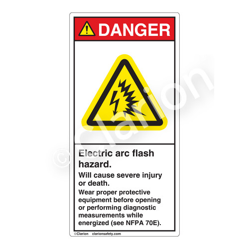 Danger/Electric Arc Flash Label (H6643-260DV)