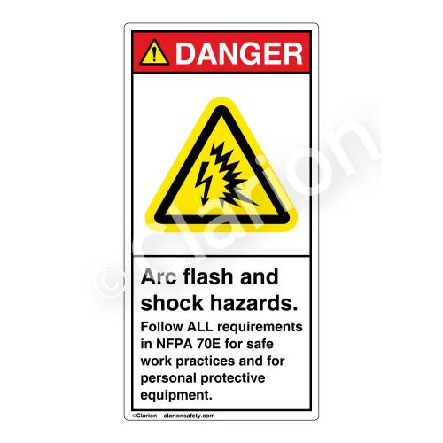 Danger/Arc Flash And Shock Label (H6643-262DV)